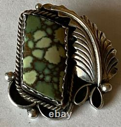 Signed Navajo Sterling Silver Damele Turquoise Pin/Pendant