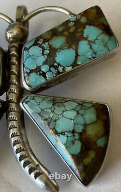 Signed Navajo Sterling Silver Turquoise Butterfly Pin/Pendant