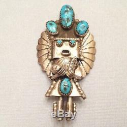 Signed Navajo Turquoise Kachina Pin / Pendant Doris Smallcanyon Sterling Silver