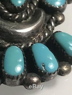 Signed ONDELACY Silver & Cluster Turquoise PIN Bow Brooch Native American Zuni