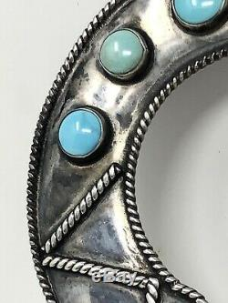 Signed R Platero Vtg Navajo Turquoise Hair Pick Fan Pin Sterling Silver 21.7g