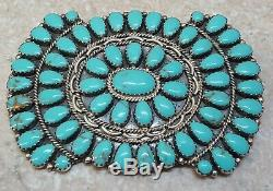 Signed Sterling Silver Petit Point Turquoise Native American Indian Pendant/pin