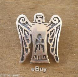 Signed Vintage HOPI Leon Lomakema STERLING Silver Overlay ANGEL PIN Brooch