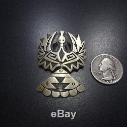 Signed Vintage HOPI Sterling Silver OVERLAY Peyote Bird PIN/PENDANT Lomayaktewa