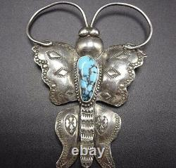 Signed Vintage NAVAJO Stamped Sterling Silver & Turquoise BUTTERFLY PIN/BROOCH