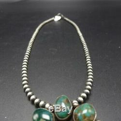 Signed Vintage NAVAJO Sterling Silver Turquoise Cluster PENDANT/PIN + 18 Strand