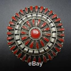 Signed Vintage NAVAJO Sterling Silver and CORAL Needlepoint Cluster PIN/PENDANT
