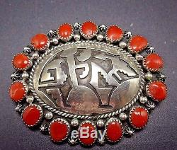 Signed Vintage NAVAJO Sterling Silver overlay & CORAL Cluster PIN/PENDANT Bear