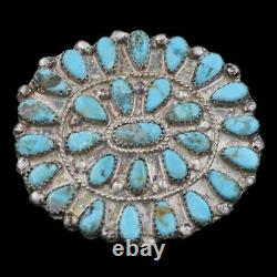 Signed Vintage Navajo Old Pawn Sterling Silver Natural Turquoise Cluster Brooch
