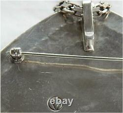 Signed Vintage Navajo Sterling Silver Royston Turquoise Pin/Pendant Necklace