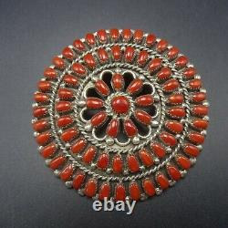 Signed Vintage ZUNI Sterling Silver RED MEDITERRANEAN CORAL Manta PIN/PENDANT
