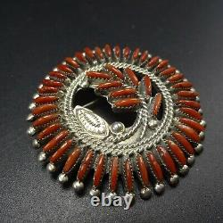 Signed Vintage ZUNI Sterling Silver and Fine CORAL Needlepoint PIN/PENDANT Wyaco