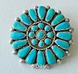 Signed ZUNI Petit Point Silver Turquoise Pin Pendant, Earrings Southwestern