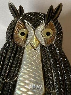 Signed Zuni Sterling Silver Inlay Owl Pin/Pendant