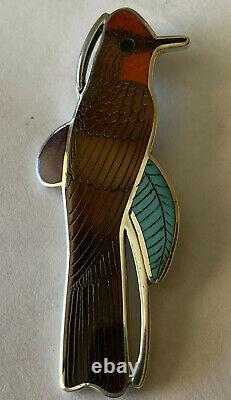 Signed Zuni Sterling Silver Inlay Vermillion Fly Catcher Pin/Pendant