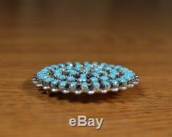 Silver SB Turquoise Zuni Petit Point Medallion Wheel Pendant Pin Ernest Gchachu