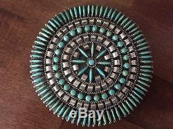 Silver Turquoise Needlepoint Cluster Pin Brooch Pendant Signed by N & R Nez