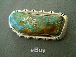 Southwestern Native American High-Grade Turquoise Sterling Silver Pin / Brooch D