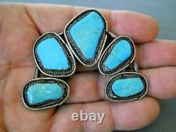 Southwestern Native American Navajo Turquoise Sterling Silver Pendant / Pin