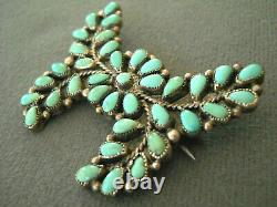 Southwestern Native American Turquoise Cluster Sterling Silver Pin Brooch ET