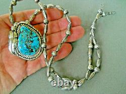 Southwestern Native American Turquoise Sterling Silver Bead Necklace and Pin