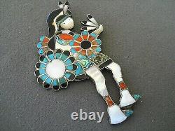 Southwestern Zuni Multi-Stone Inlay Kachina Dancer Sterling Silver Pin Brooch 4