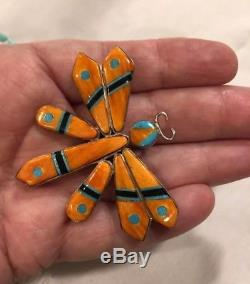 Spiny Oyster & Turquoise Inlay Dragonfly Pendant /Pin Sterling 2 1/4 X 1 7/8