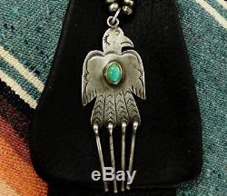 Sterling B. Skeets Navajo Thunderbird Pendant on New Dark Brown Leather Pouch