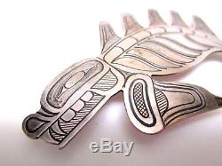 Sterling Silver Handmade American Indian Northwest COAST FISH Pin SIGNED
