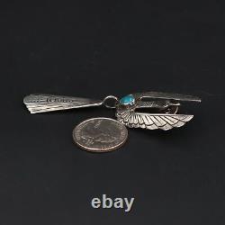 Sterling Silver NAVAJO JUAN T. SINGER Turquoise Thunderbird Brooch Pin 10.5g