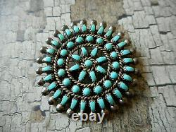 Sterling Silver Southwest Petit Point Turquoise Zuni Brooch or Pendant 761906