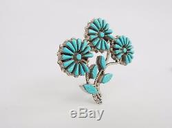 Sterling Silver Turquoise Flower Brooch J. Laate Zuni Sku 7.9.17.3