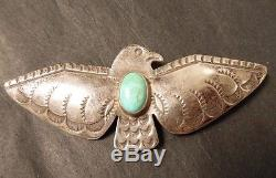 Sterling Silver Turquoise Vintage Thunderbird Pin