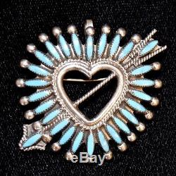 Sterling Silver & Turquoise Zuni Needle Point Heart & Arrow Pendant/Pin, 1.375