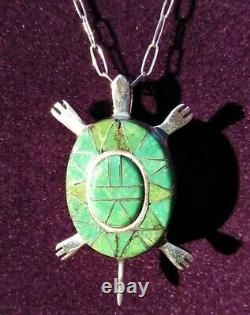 Sterling Silver Zuni Inlay Green Turquiose Turtle Necklace & Pin 10 Gr Signed PJ