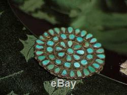 Sterling Sunburst Turquoise NAVAJO BROOCH PIN 2 3/4 LMB Larry Moses Begay Vintg