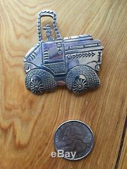 Sterling tractor pin by Navajo family of Norbert, Natasha and Aaron Peshlakai
