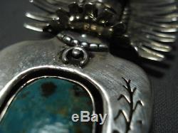 Striking Vintage Navajo Green Turquoise Sterling Silver Pendant Pin Old
