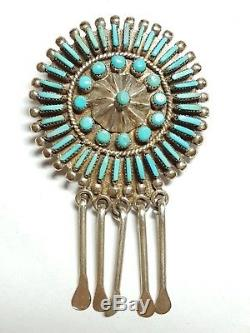 Stunning Old Pawn Sterling Silver Needlepoint Pin Pendant 2979