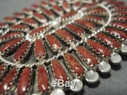 Stunning Vintage Navajo Coral Sterling Silver Native American Pin