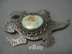 Stunning Vintage Navajo Toad Sterling Silver Pin Pendant Old Pawn