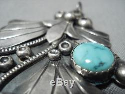 Stunning Vintage Navajo Turquoise Sterling Silver Carl Luthy Pin Pendant