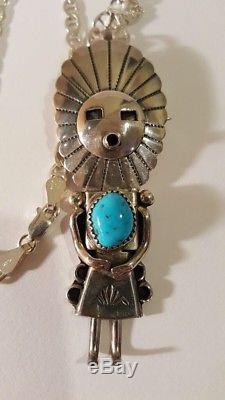 Stunning Vintage Sterling Silver Turquoise Kachina Pin/Pendant