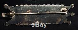 Stunning Zuni Petit Point Sterling Silver & Turquoise Bar Pin Vintage Brooch
