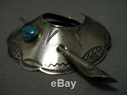 Superior Vintage Navajo Royston Turquoise Sterling Silver Hair Barrette Clip