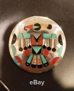 THUNDERBIRD Zuni P Natachu Sterling Silver Turquoise Coral Inlay Pendant Pin