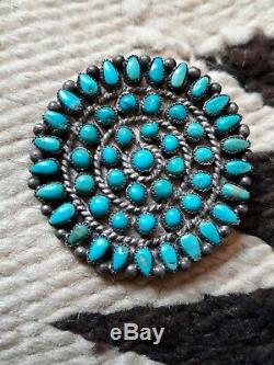 TURQUOISE AND Sterling SILVER ZUNI/ Navajo CLUSTER PIN PENDANT Amazing! Nice