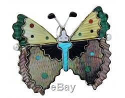 Tamara Pinto, Pin, Pendant, Butterfly, Multi Stone, Silver, Zuni Handmade, 2 in