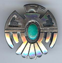Ted Wadsworth Vintage Hopi Indian Silver & Turquoise Thunderbird Pin Brooch