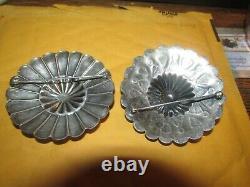 Three Navajo Large Sterling Old Pawn Pins